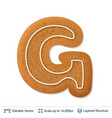 gingerbread letter g isolated on white vector image