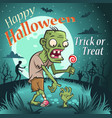 halloween zombie with a candy under the moon vector image