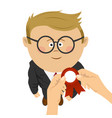 hand pins award ribbon to nerd schoolboy vector image vector image