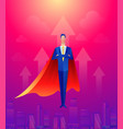handsome businessman super leader flying in front vector image vector image