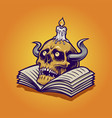 human skull and book with candle vector image vector image