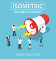 Isometric businesspeople disturbed by the noise fr vector image