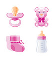 it s a girl newborn icon set 3d cartoon baby born vector image vector image