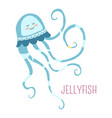 jellyfish with curly tentacles childish character vector image