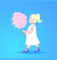 little girl eating pink candy-floss cute child vector image