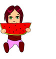 little girl eating watermelon cartoon vector image vector image