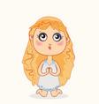 little girl praying before going to sleep vector image