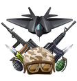 Many kind of weapons and fighting jet vector image vector image
