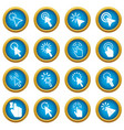mouse pointer icons blue circle set vector image vector image
