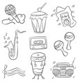 music doodles hand draw vector image