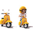 realistic vintage yellow scooter and vector image