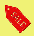 Red sale label on yellow background