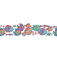 seamless border with decorative fishes in funny vector image