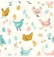 seamless pattern with chicken for easter vector image vector image