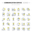 set line icons communication service vector image