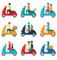 set of beautiful colored two-wheeled scooters vector image vector image