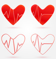 Set of hearts beats graph icons vector image