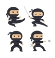 Set of ninja characters showing different actions