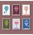 Set of vintage stamp with balloon vector image