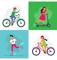 skating kids children ride bike rollerblades and vector image
