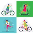 skating kids children ride bike rollerblades vector image vector image