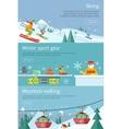 Skiing Winter Sport Gear Mountain Walking Set vector image