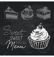 Sweet cakes hand drawn chalkboard design set vector image vector image