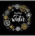 winter lettering design on snow background with vector image