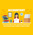 woman accountant concept banner flat style