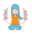 woman relaxing with plants branches vector image vector image