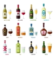 Alcohol drinks icon set Bottles glasses for vector image vector image