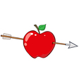 Arrow Through Red Apple vector image vector image