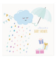 Baby shower invitation card watercolor cartoons