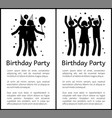 birthday party banners with people silhouettes vector image