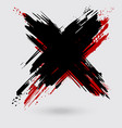 black and red ink cross stroke on white background vector image vector image
