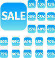 blue icon set with sale concept and percentage vector image