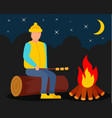 boy at camp fire background flat style vector image