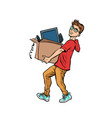 boy desktop computer delivery and purchase vector image vector image