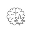 cannabis leaf with brain line icon medical vector image