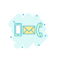 cartoon colored phone envelope smartphone icon in vector image vector image