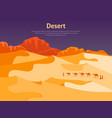 cartoon desert with silhouettes camels and people vector image vector image