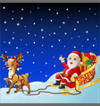 cartoon santa claus in sleigh pulled by reindeer vector image