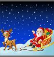 cartoon santa claus in sleigh pulled by reindeer vector image