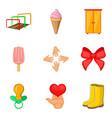 childbearing icons set cartoon style vector image vector image
