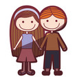 color silhouette shading cartoon couple kids in vector image vector image