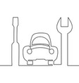 continuous one line icon car repair service vector image