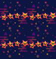 cute smiling stars on dark blue background vector image vector image