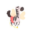 cute winged zebra flying with a magic wand vector image vector image