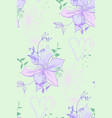 delicate pattern with lilac flowers and hearts vector image