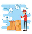 delivery worker with set icons vector image vector image